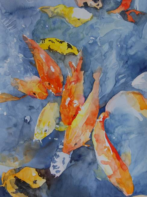 Stunning koi fish watercolor painting reproductions for for Koi prints for sale