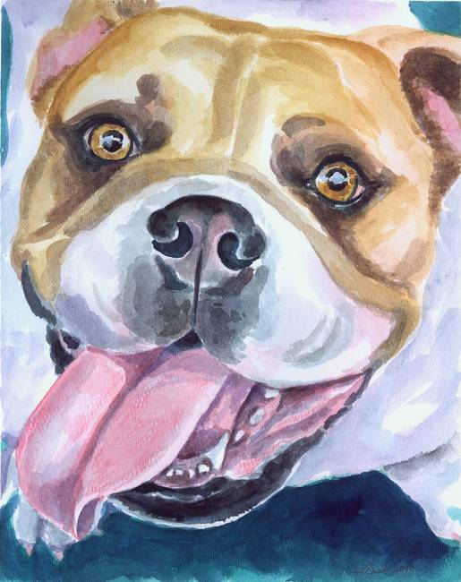 Bulldog Watercolor, Joyful Bully!