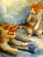 Kittens Playing, Watercolor Painting of Orange Tab