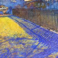 Blue Fence Shadows by Faye Cummings