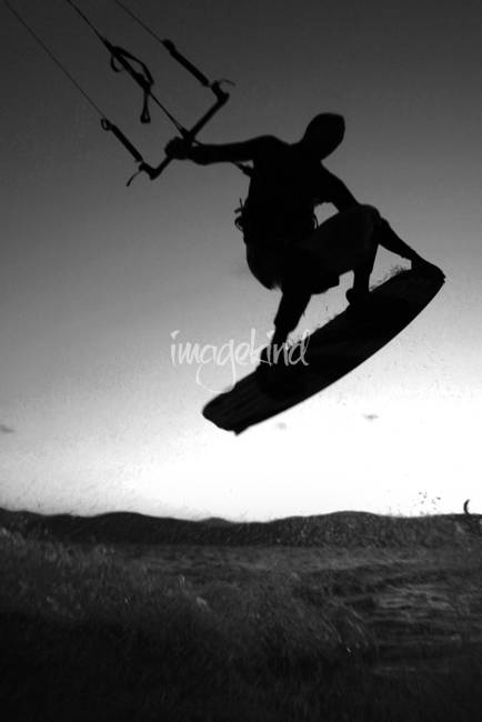 Black and White Kitesurfer
