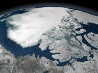 Arctic sea ice above North America