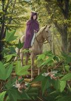 Lost princess in forest on horseback
