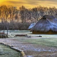 Winter Morning at Sunwatch Indian Village Dayton O by Jim Crotty