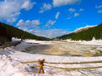 Snow Pond Vibrant Colors Rocky Mountains
