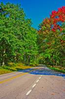 Skyline Drive Road Scene Fake HDR Bright Colors