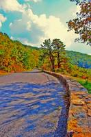 Skyline Drive Road With Wall Fake HDR Bright Color