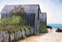 WEATHERED BARN AND BEACH