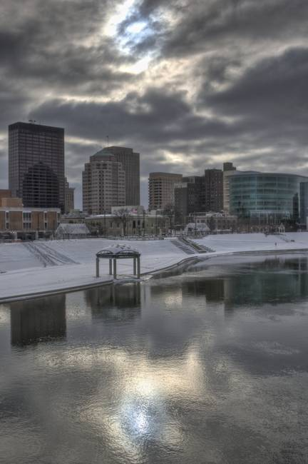 Dayton Ohio Skyline in Winter by Jim Crotty