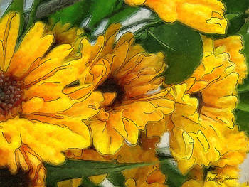 Yellow Chrysanthemums 1 by Christopher Johnson