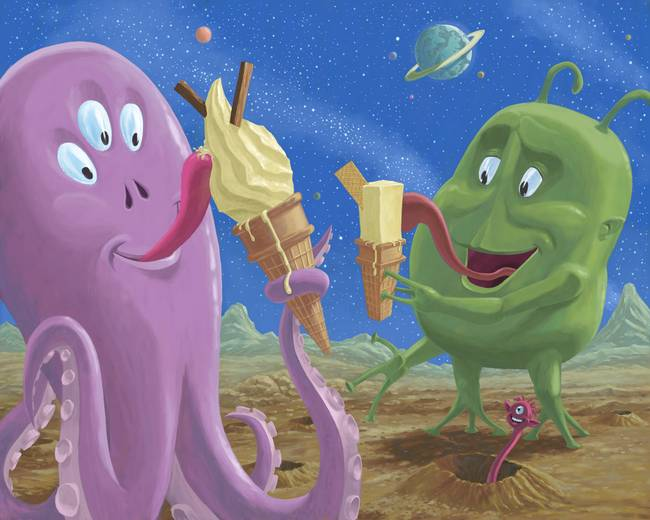 aliens eating ice cream