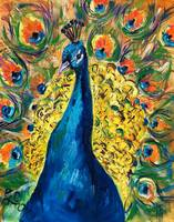 Peacock Splendor Original Oil Painting by Ginette