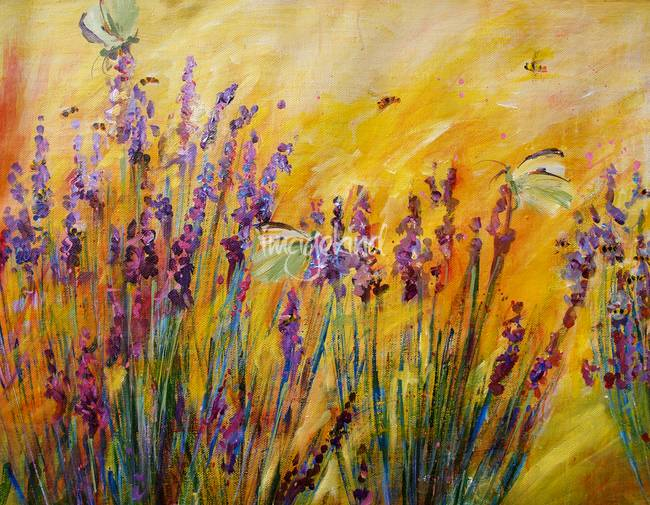 Lavender Bees & Butterflies Original Painting by G