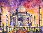 Taj Mahal India Watercolor by Ginette Callaway