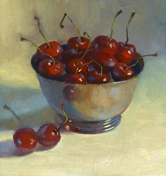 Cherries In Silver Bowl by artist Hall Groat II. Giclee prints, art prints, a still life, fine art print; from an original oil painting