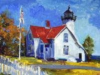 Lighthouse Martha's Vineyard, Oil Painting
