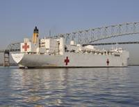 USNS Comfort Passes under Key Bridge Baltimore Mar