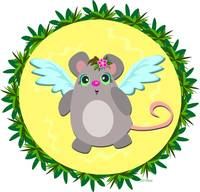 Angel Mouse in Tropical Frame