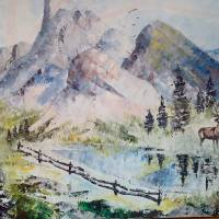 snowy peaks Art Prints & Posters by PAULINE MCCARVILLE (Kelly)