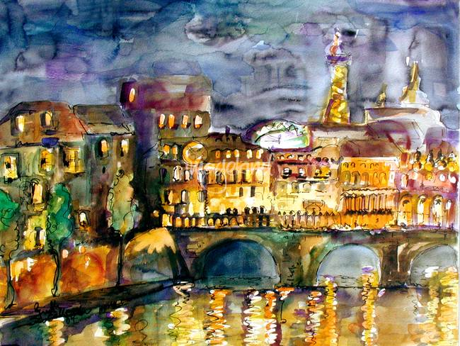 Paris Night Watercolor by Ginette Callaway