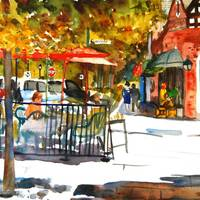"""Spencer Place, Watercolor Painting Art"" by schulmanart"