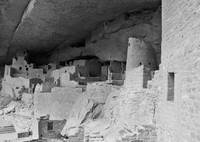 Cliff Palace, View, Round Tower, B&W
