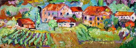 Counry Farm Town Oil Painting by Ginette Callaway