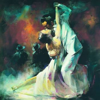 Tango 2 by artist Willem Haenraets. Giclee prints, art prints, posters, figure painting, a couple dancing the Tango; from an original  painting