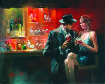 Bar1 by artist Willem Haenraets. Giclee prints, art prints, posters, urban art, a man and a woman in a bar; from an original  painting