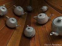 Scattered Teapots on wood