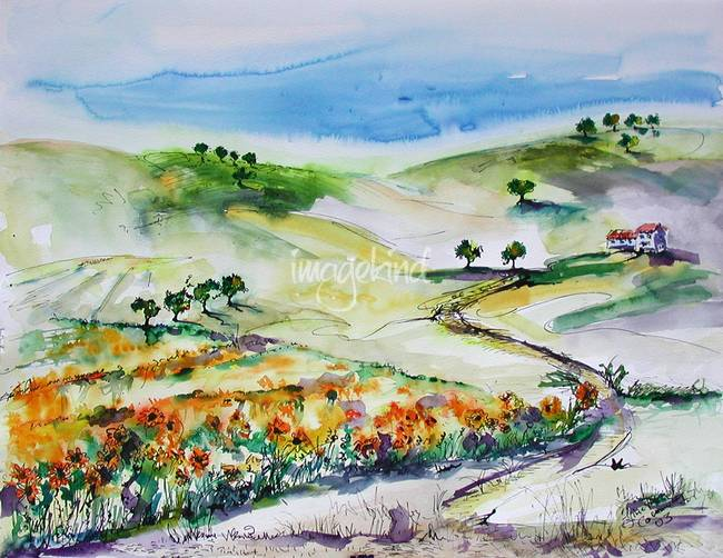Summer In Provence Watercolor Landscape by Ginette