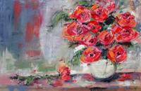 Red Roses Oil Painting Still Life by Ginette