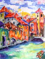 Annecy Canal France Watercolor by Ginette
