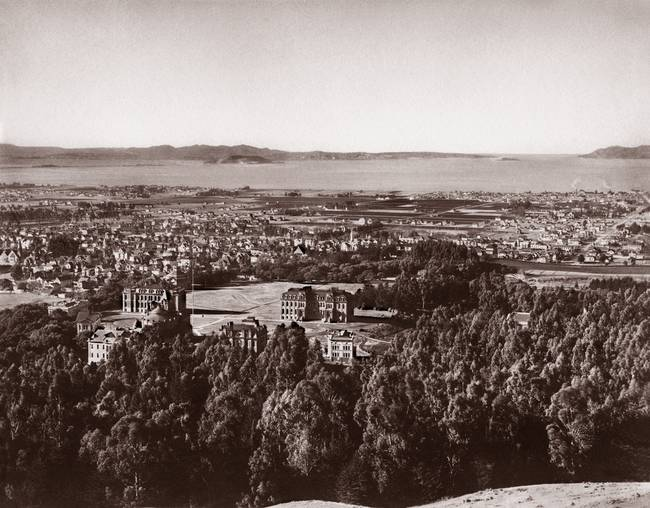 Berkeley Campus overview c1880 towards Golden Gate