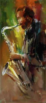 jazz by artist Willem Haenraets. Giclee prints, art prints, posters, a black man playing jazz on a saxaphone; from an original  painting