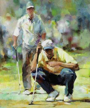 concentration by artist Willem Haenraets. Giclee prints, art prints, posters, two golfers on a green; from an original  painting