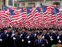 Flags and NYC Firemen, Saint Patrick's Day 2002 by Michael Stephen Wills