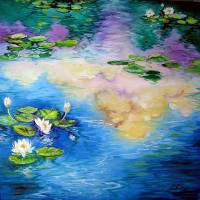 Reflections on a Waterlily Pond by Marcia Baldwin