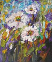 White Poppies Oil Painting by Ginette Callaway