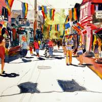 """Commercial Street, Provincetown art Watercolor"" by schulmanart"
