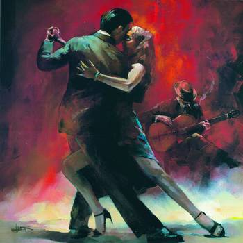 Tango 1 by artist Willem Haenraets. Giclee prints, art prints, posters, figure painting, a couple dancing the Tango; from an original  painting