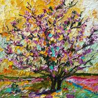 Tulip Magnolia Tree Impressionist Oil Painting by
