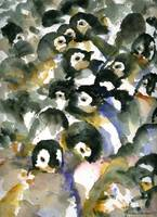 Penguin Nursery II, Abstract Watercolor Art