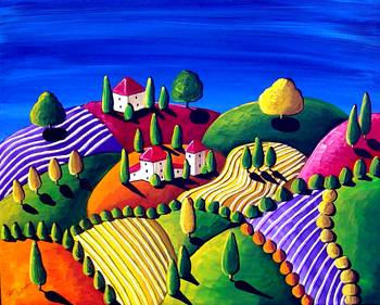 Tuscon Landscape by artist Renie Britenbucher. Giclee prints, art prints, posters, a landscape in Tuscany; from an original  painting