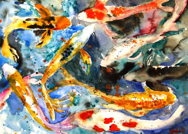 Tropical Fish Contemporary Watercolor Abstract ART Print by Artist DJR