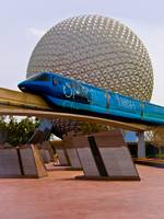 Tronorail passing Spaceship Earth