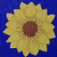 yellow daisy blue background Art Prints & Posters by Nicole Walters
