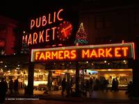 PIKE PLACE MARKET- SEATTLE, NIGHT-SCAPE. NEON ligh