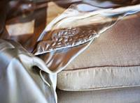 silk sheet on sofa cushion through shop window