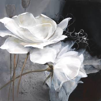 WH White flower 1 by artist Willem Haenraets. Giclee prints, art prints, posters, a floral; two white flowers; from an original  painting